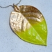 huge leaf pendant - color dipped in bright chartruese yellow green