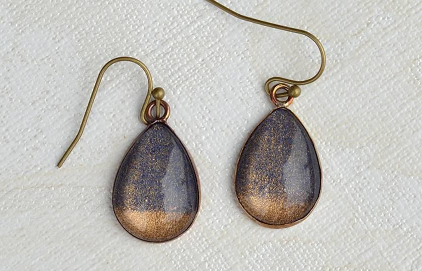 teardrop earrings - gold dipped midnight blue
