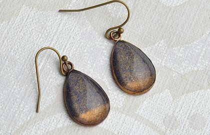 teardrop earrings - gold dipped midnight blue