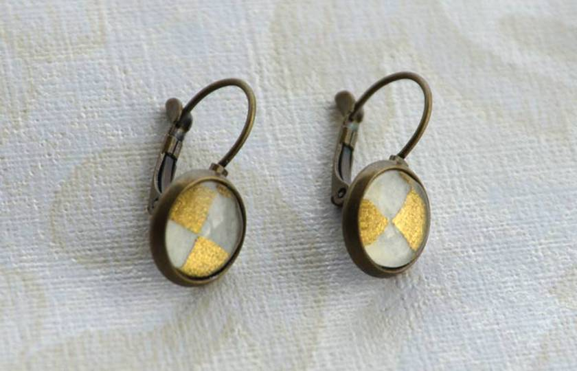 gold and white checker -  lever back drop earring