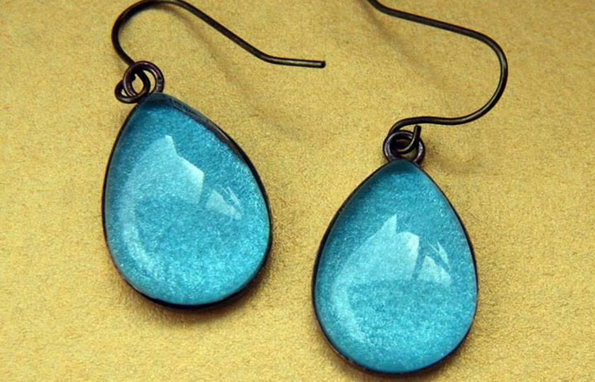 teardrop earrings - teal aqua