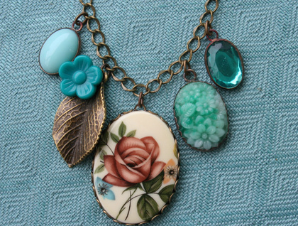 teal garden cluster necklace