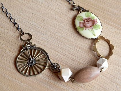 vintage rose and bicycle wooden bead link necklace