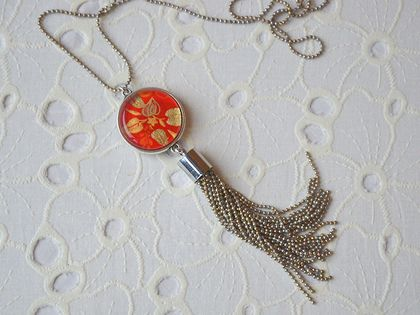 double sided pendant with chain tassel - silver with red Japanese print