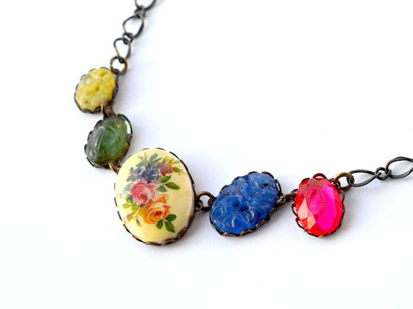 linked vintage floral necklace with vintage cabochons  and rhinestones