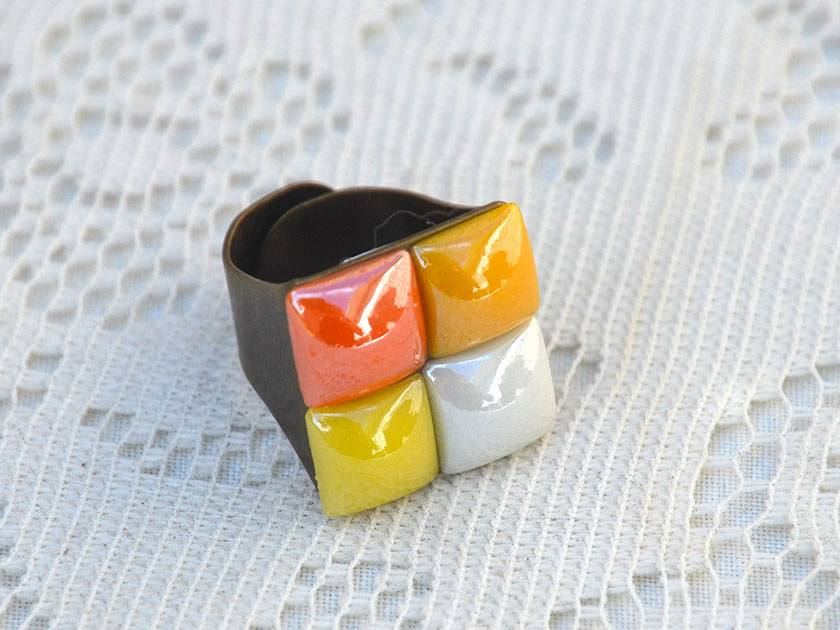 boho mosaic ring - retro orange
