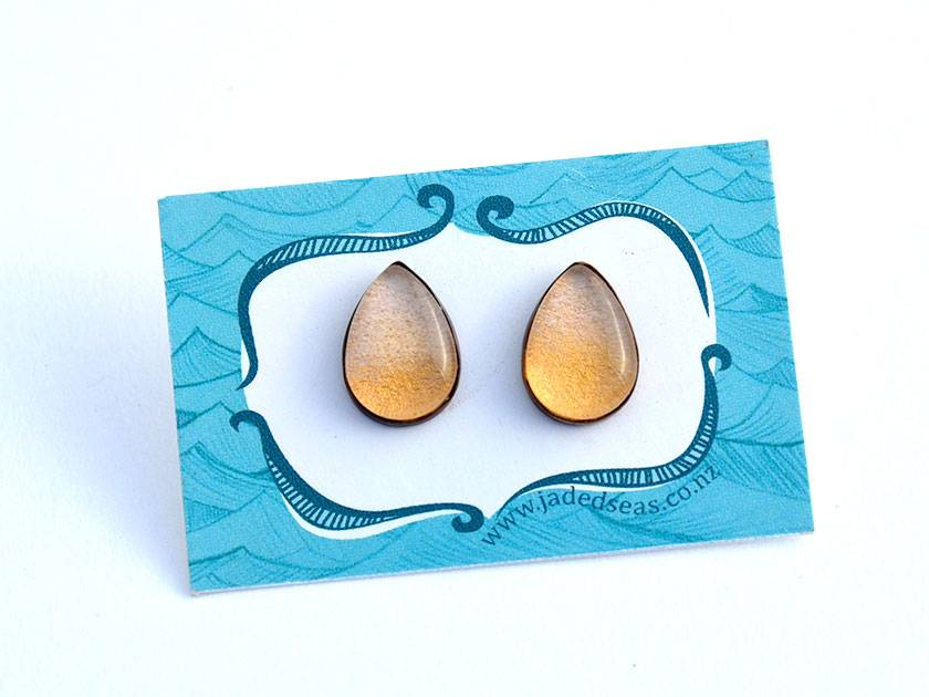 ombre teardrop studs - pink and rust