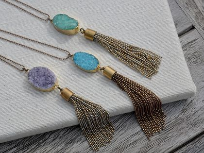druzy pendant with chain tassel