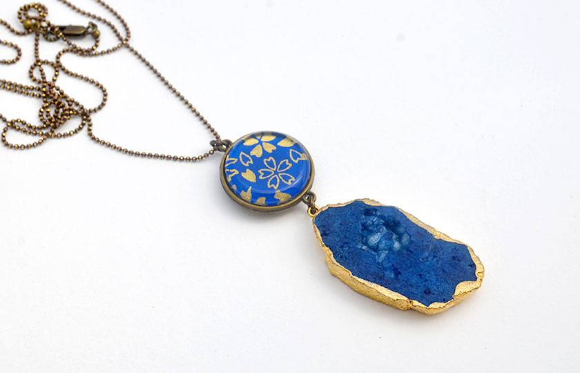 double sided geode agate druzy double drop pendant - blue and gold petals