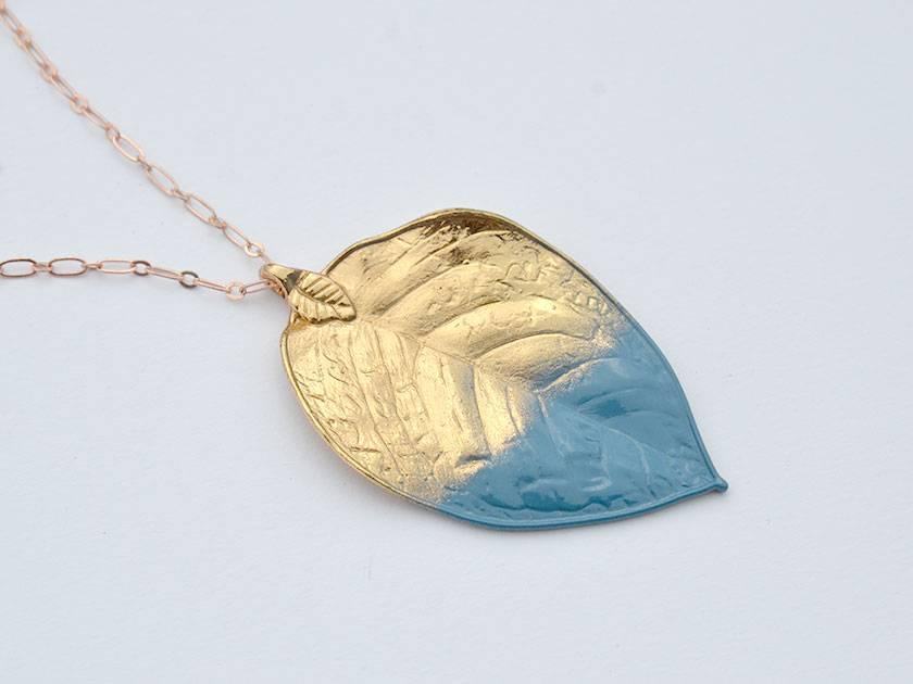 huge leaf pendant - color dipped