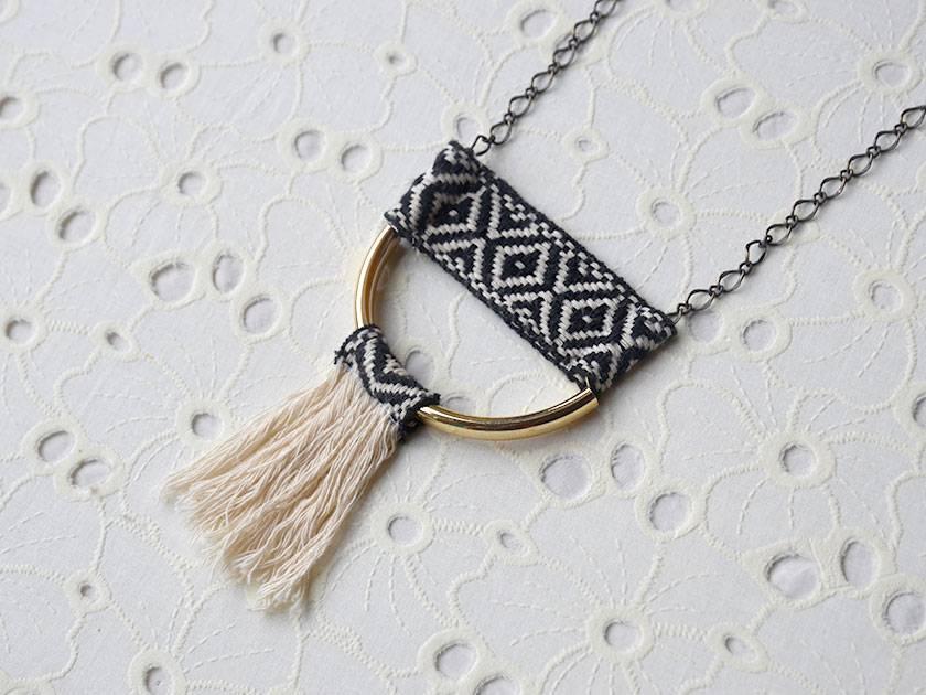 geometric woven tassel pendant
