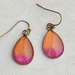 teardrop earrings - rust and hot pink ombre