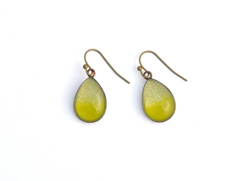 teardrop earrings - chartruese green