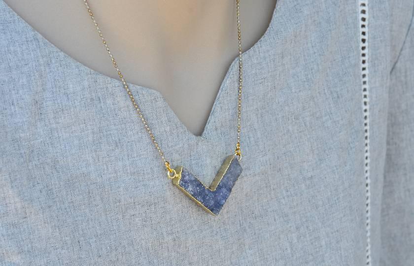 chevron druzy pendant
