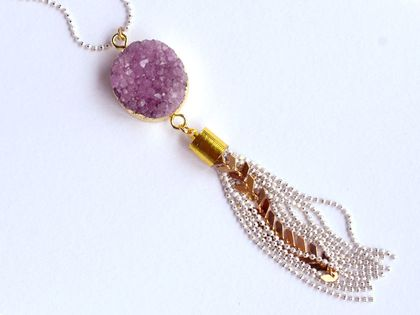 druzy agate geode slice with faceted chain tassel