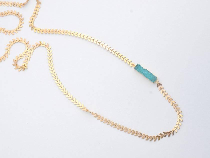 aqua druzy bar pendant