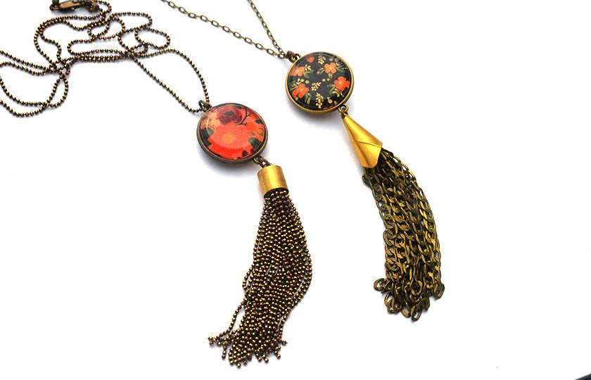 double sided chain tassel pendant - red and dark floral