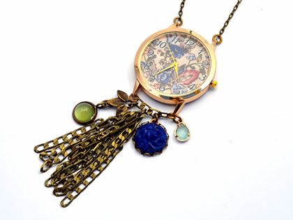 floral watch pendant - with fringe tassel and vintage carved charms