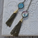 tassel pendant from ball chain  - moroccan and blue petals  double sided drop