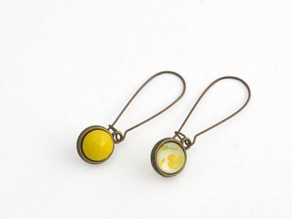 double sided drop earrings - vintage stones yellow