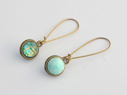 double sided drop earrings - vintage stones aqua