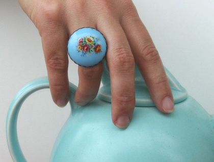 blue floral ring