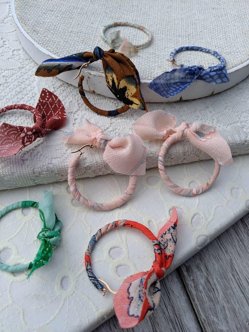 fabric wrapped hoop earrings
