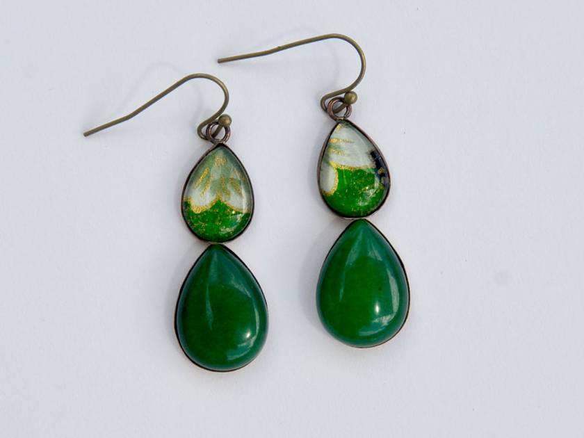 green jade double teardrop earring