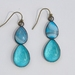 aqua blue agate double teardrop earring