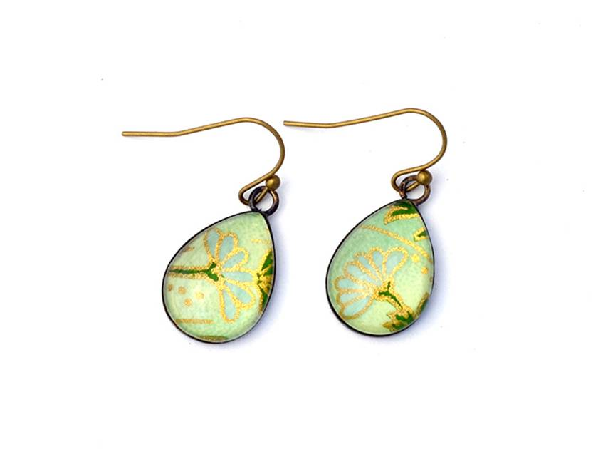teardrop earrings - floral on mint