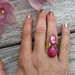 double teardrop with gemstone - fushia jade