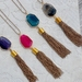 colorful agate pendant with chain tassel
