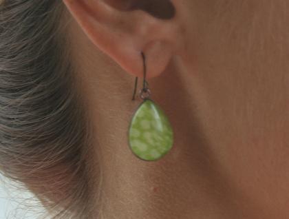 teardrop earrings - gold checkers