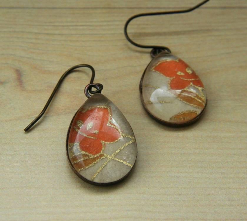 teardrop earrings - orange lily