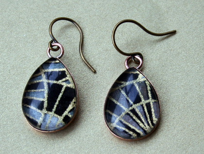 teardrop earrings - black and white abstract
