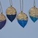 huge leaf pendant - ourple and navy gold dipped
