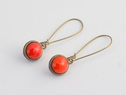 double sided drop earrings - lipstick red vintage stones