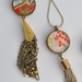 double sided chain tassel pendant - red paisley and red blossoms