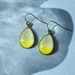 teardrop earrings - lime yellow with champagne sparkle
