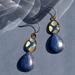 Blue lapiz double teardrop earring