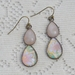 rose quartz floral double teardrop earring