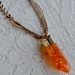 Crackled crystal bullet pendant  - Orange