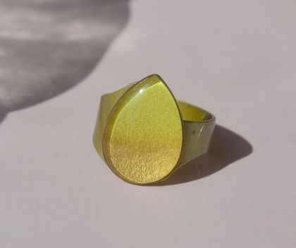 Ombre raindrop ring - lemon lime and gold dipped
