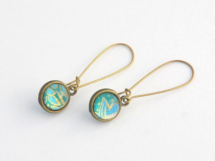 double sided drop earrings - turquoise paisley