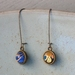 double sided drop earrings - midnight floral and navy waves