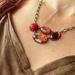 ruby red floral - vintage linked necklace