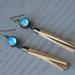 leather tassel dome globe earrings - blue daisy