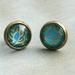 dainty stud earrings - turquoise paisley