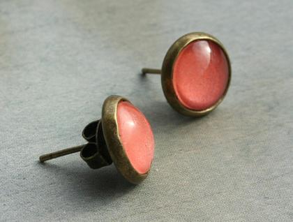 glass dome stud earrings - blush watermelon