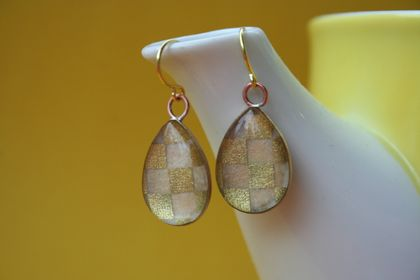 teardrop earrings - gold checkers